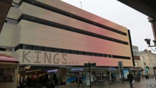 Computer generated graphic showing cladding on the Kings Walk shopping arcade, Gloucester