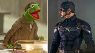 Kermit the Frog in Muppets Most Wanted and Chris Evans in Captain America: The Winter Soldier