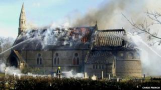 St Mary's Church fire in March