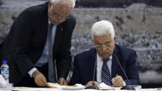 "Palestinian Authority President Mahmoud Abbas signs applications by the ""State of Palestine"" to join several UN treaties and conventions (1 April 2014)"