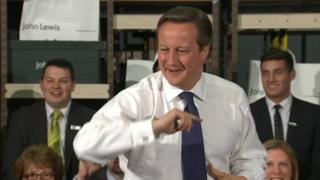 David Cameron at the John Lewis store in Cheadle