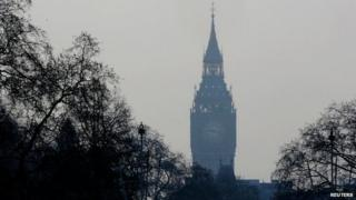 The Elizabeth Tower through the haze of pollution in London on Wednesday
