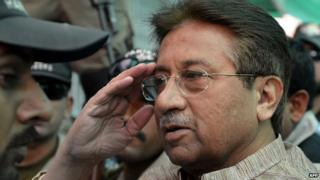 Former Pakistani president Pervez Musharraf on 20 April 2013