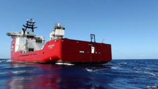 The towed pinger locator (TPL-25) is towed behind the Australian Defence Vessel Ocean Shield in the southern Indian Ocean on 5 April 2014
