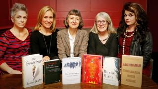 Baileys Women's Prize for Fiction 2014 judges: (from left) Denise Mina, Sophie Raworth, Helen Fraser (chair), Mary Beard and Caitlin Moran