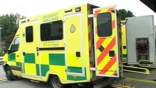 Ambulance waiting at a hospital