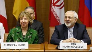 Baroness Ashton and Iran's foreign minister Mohammad Javad Zarif at talks in Vienna - 8 April 2014