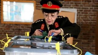General Sohaila Sediq, a prominent military doctor casts her vote in Kabul
