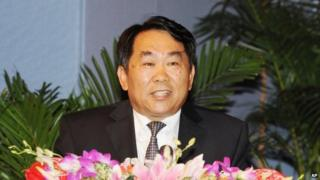 Guo Yongxiang delivers a speech in Beijing on 12 October 2011