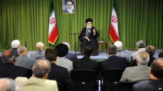 Ayatollah Khamenei talks to scientists in Tehran on 9 April 2014