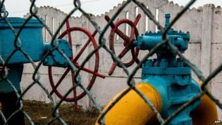 Valves of gas pipe-line are seen not far from Kiev on 4 March 2014.