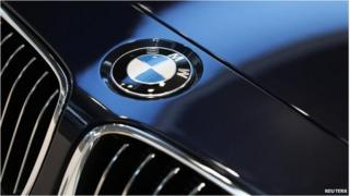BMW logo is pictured before news conference of German premium automaker BMW in Munich 19/03/14