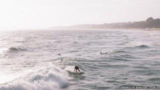 Surfing on Bournemouth seafront