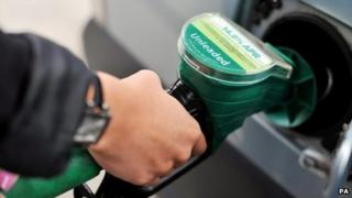 A close-up of someone's hand on a petrol pump
