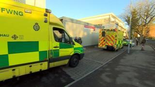 Ambulances outside University Hospital of Wales, Cardiff