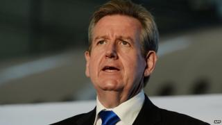 Barry O'Farrell, Premier of Australia's New South Wales (NSW) state, speaks during a joint press conference with Qantas Airline at Sydney Airport on 22 April, 2013