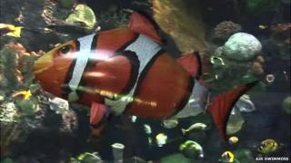 Inflatable flying clown fish