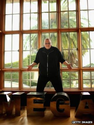 Kim Dotcom at his home