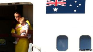 Catherine, Duchess of Cambridge, and Prince George step off the plane at Sydney
