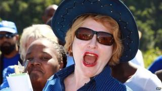 South African opposition leader Helen Zille in Welbedacht, Durban, on 5 April 2013