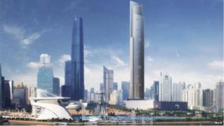 Artist's impression of Guangzhou CTF Financial Centre