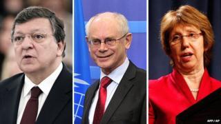 EU Commission President Jose Manuel Barroso, European Council President Herman Van Rompuy, EU High Representative Catherine Ashton