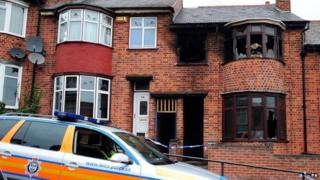 The house after the fire in Wood Hill Leicester