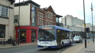 Sheffield's FreeBee bus running down Brown Street in 2012