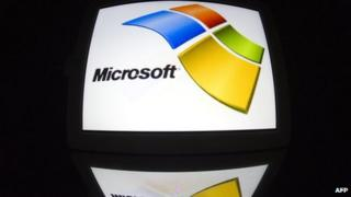 Microsoft logo on a tablet PC