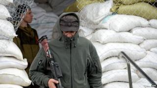Pro-Russian activist in Sloviansk, 29 April