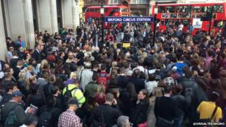 Crowds at Oxford Circus Station