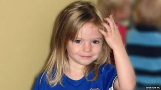 Madeleine McCann wearing an Everton football shirt