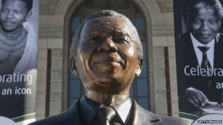 The bust of Nelson Mandela outside South Africa's parliament in Cape Town