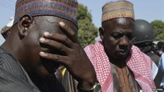 A man weeps as he joins parents of kidnapped school girls during a meeting with the Borno State governor in Chibok, Maiduguri, Borno state, 22 April 2014