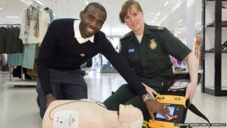 Fabrice Muamba and Sam Wilcox, a community resuscitation trainer