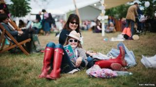 Child and woman at Hay Festival