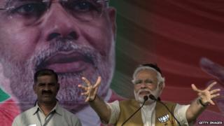 Mr Modi is hoping to defeat the ruling Congress party