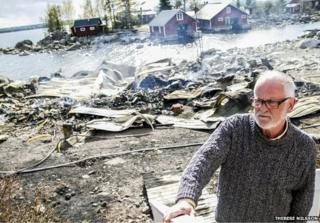 Hans-Erik Englundh with his surstroemming warehouse burned to the ground