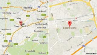 """Google maps image showing """"Town Centre"""" and """"Basingstoke"""""""