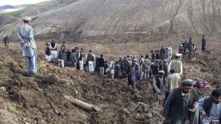 Landslide in Argo district in Badakhshan province in May 2014