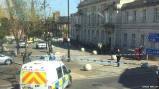 Police at Rotherham Town Hall