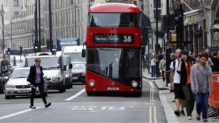 Bus lane in central London