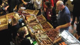 Abergavenny Food Festival scene in the Market Hall