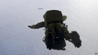 A US Air Force airman parachuted into the Pacific Ocean on 3 May 2014