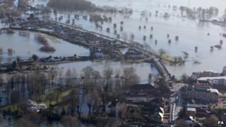 Chertsey flood waters
