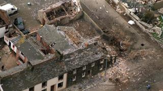 Aerial view of the aftermath of the 1998 bomb attack on Moira police station