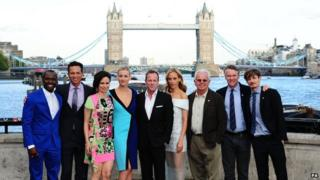 Kiefer Sutherland (centre) with other cast members at the London launch of 24: Live Another Day