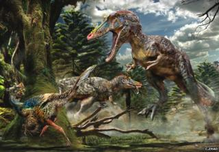 Qianzhousaurus hunting a small feathered dinosaur Nankangia