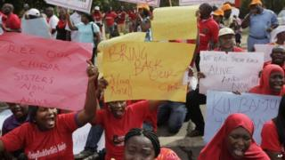 Women attend a demonstration in Nigeria's capital, Abuja, calling on the government to rescue kidnapped schoolgirls of Chibok secondary school - Tuesday 6 May 2014