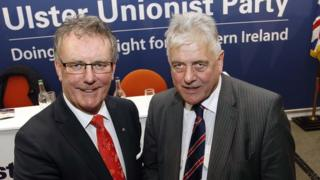 Mike Nesbitt, UUP leader pictured with European election candidate Jim Nicholson